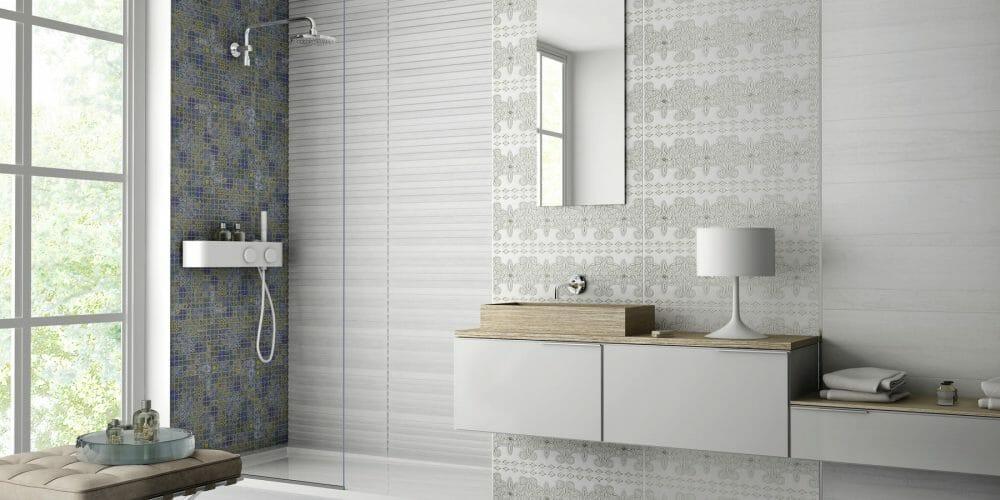 Denver white shower room tiles
