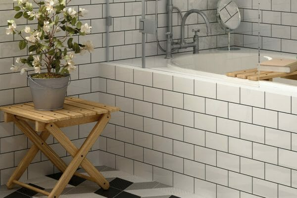Pair Rhombus tiles up with classic, timeless Bevel tiles for an eye-catching effect.