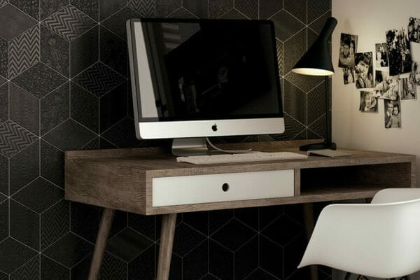 Create a stylish, sleek look in your office with black Rhombus tiles