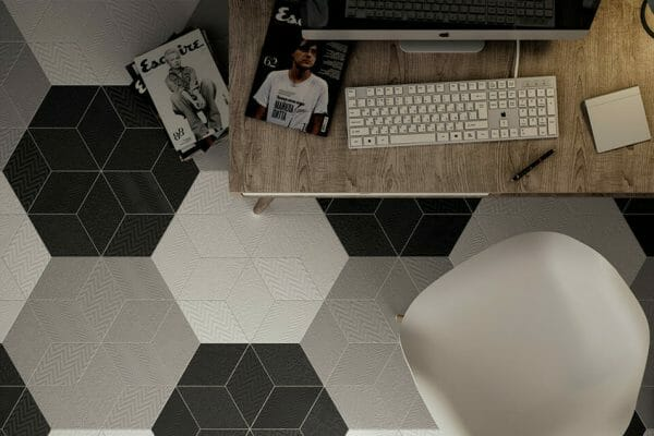 Create zones in your home with Rhombus tiles in hexagon patterns.