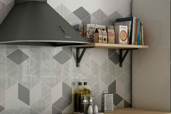 Create a practical and gorgeous splash back in your kitchen with a unique arrangement of Rhombus tiles.