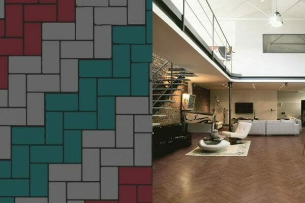 On walls or floors the block herringbone tile pattern is a real head turner.